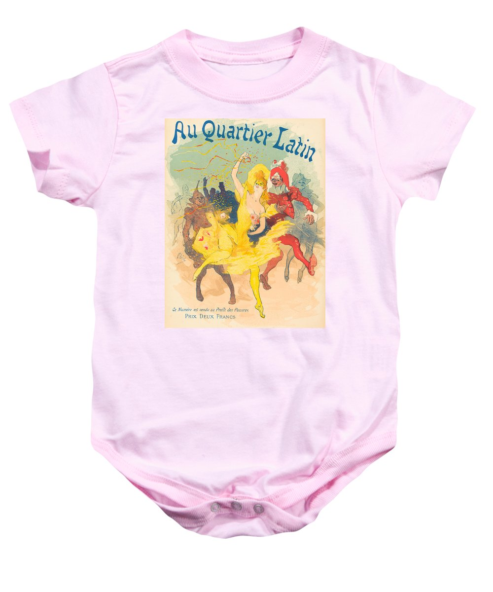 Jules Cheret Baby Onesie featuring the drawing Au Quartier Latin by Jules Cheret