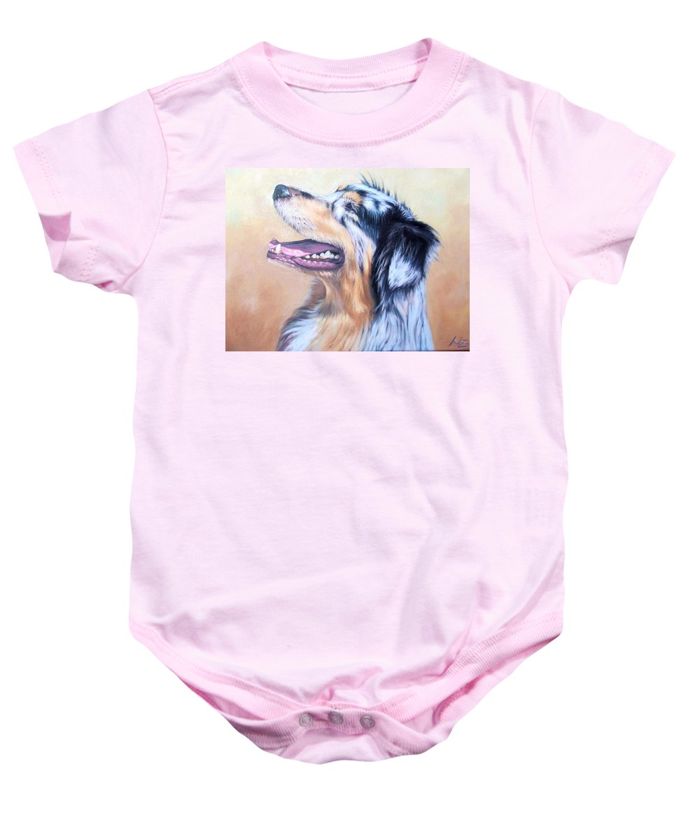 Dog Baby Onesie featuring the painting Australian Shepherd Dog by Nicole Zeug