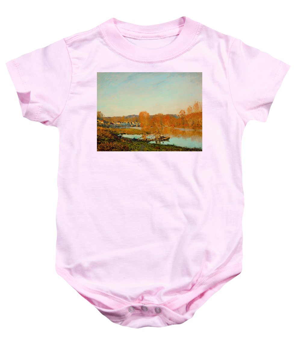 Painting Baby Onesie featuring the painting Autumn Banks Of The Seine Near Bougival by Mountain Dreams
