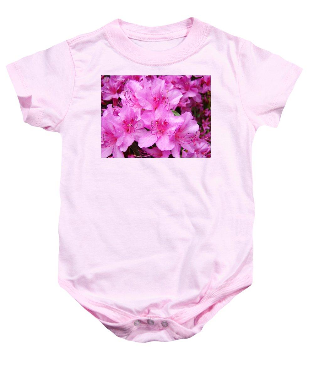 Azalea Baby Onesie featuring the photograph Azalea Floral Garden Fine Art Photography Baslee Troutman by Baslee Troutman