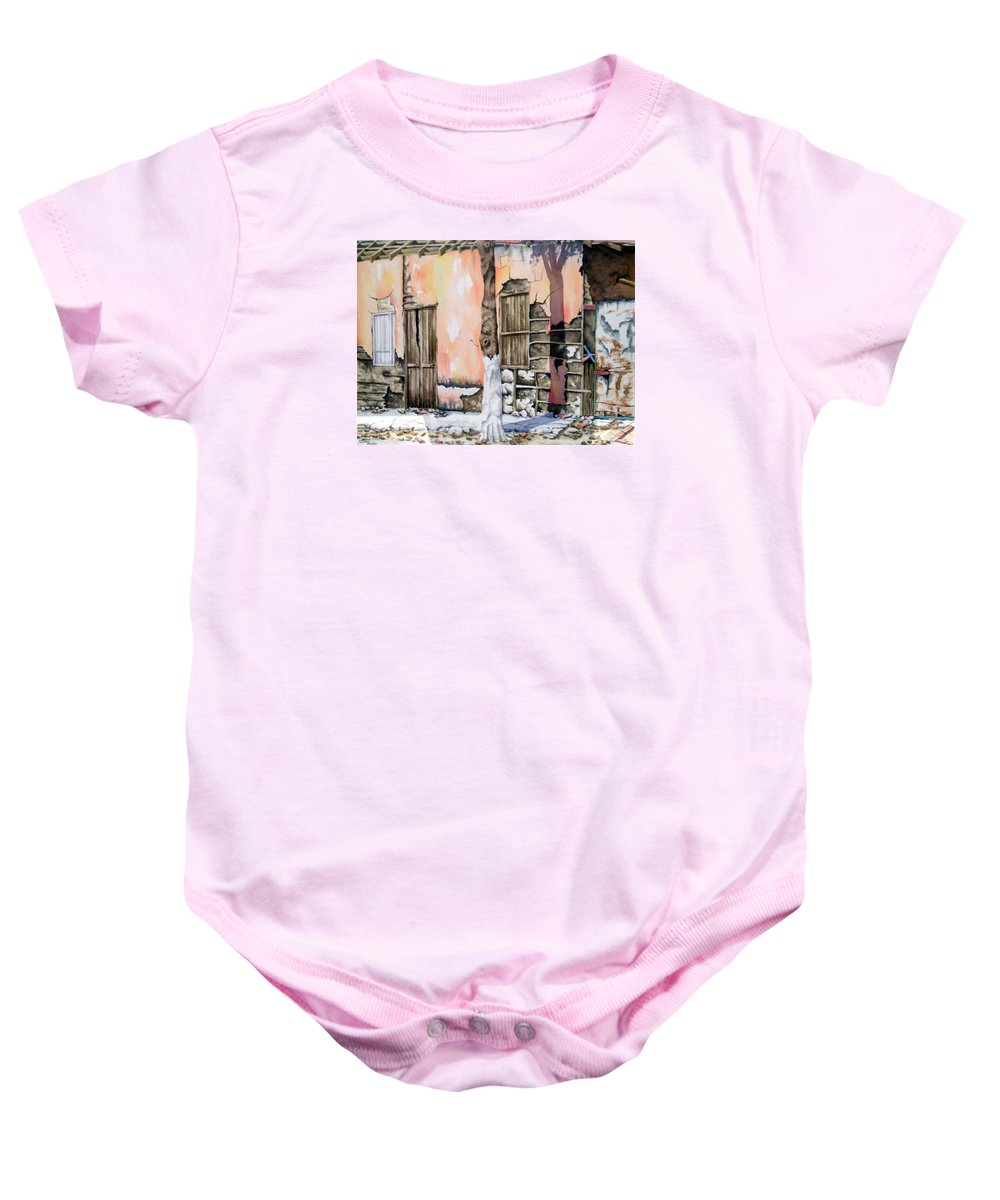 Lanscape Baby Onesie featuring the painting Bareque II by Tatiana Escobar