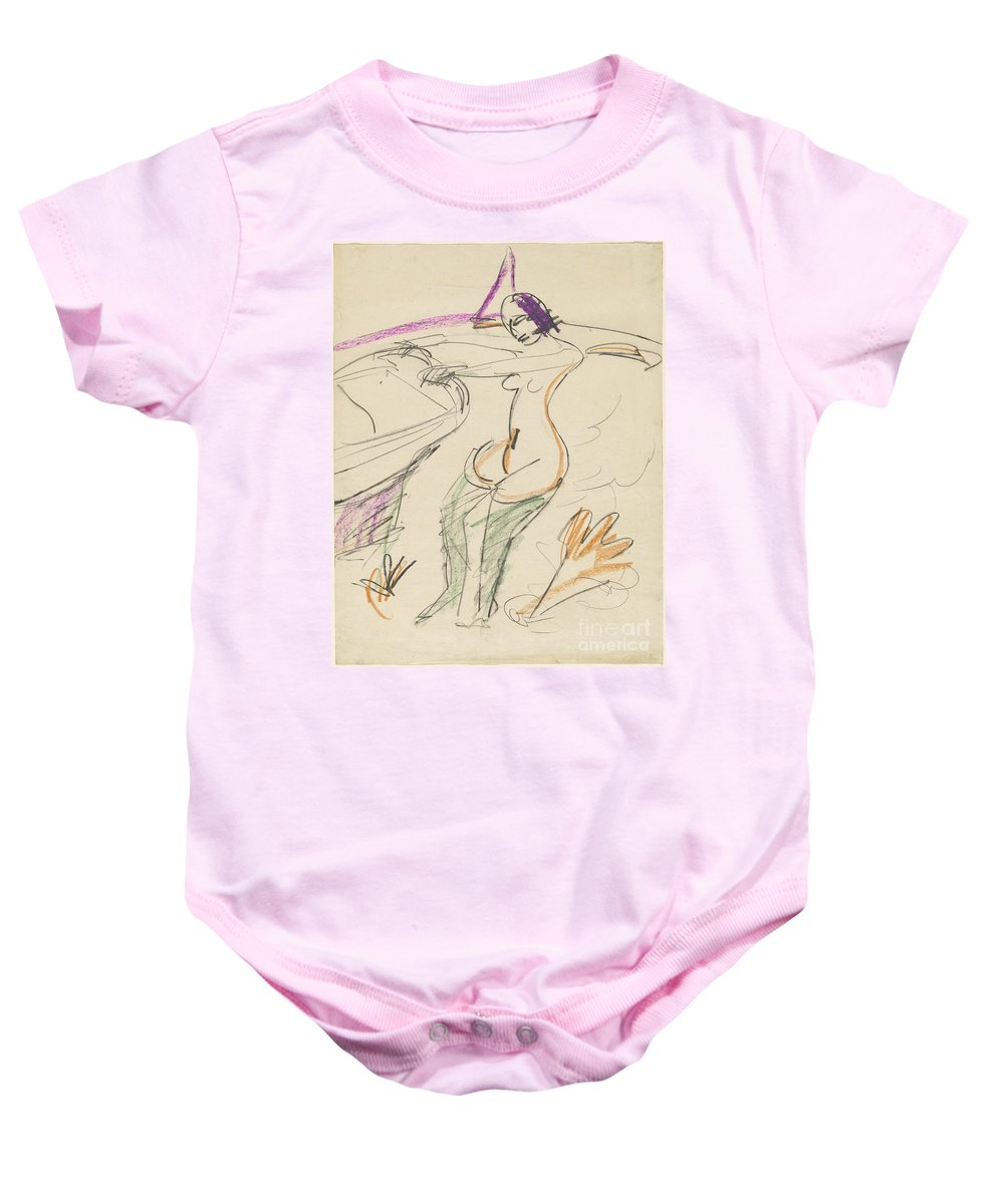 Baby Onesie featuring the drawing Bather by Ernst Ludwig Kirchner