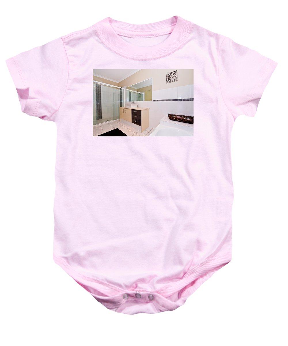 Bath Baby Onesie featuring the photograph Bathroom And Bath by Darren Burton