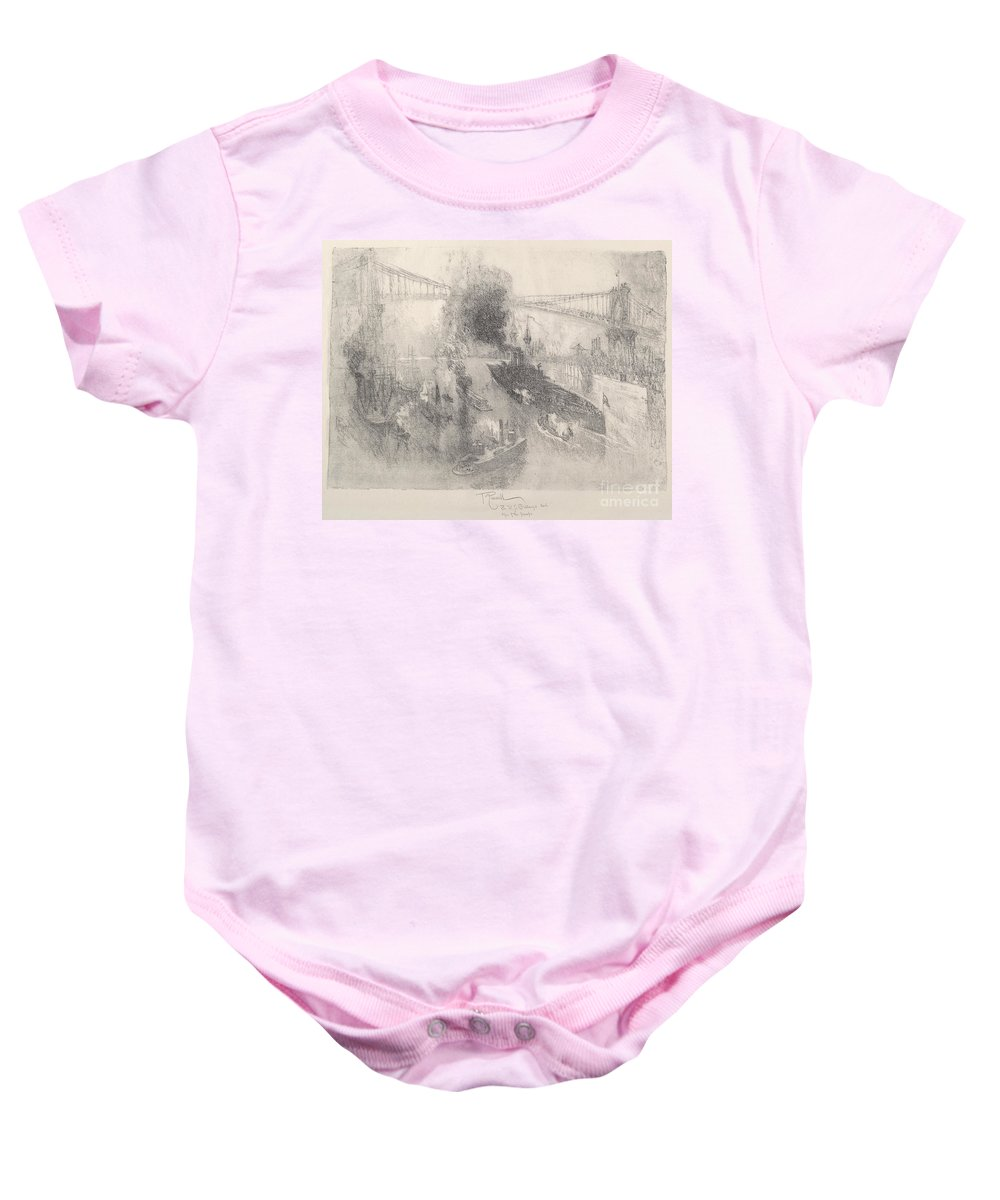 Baby Onesie featuring the drawing Battleship Coming Home by Joseph Pennell