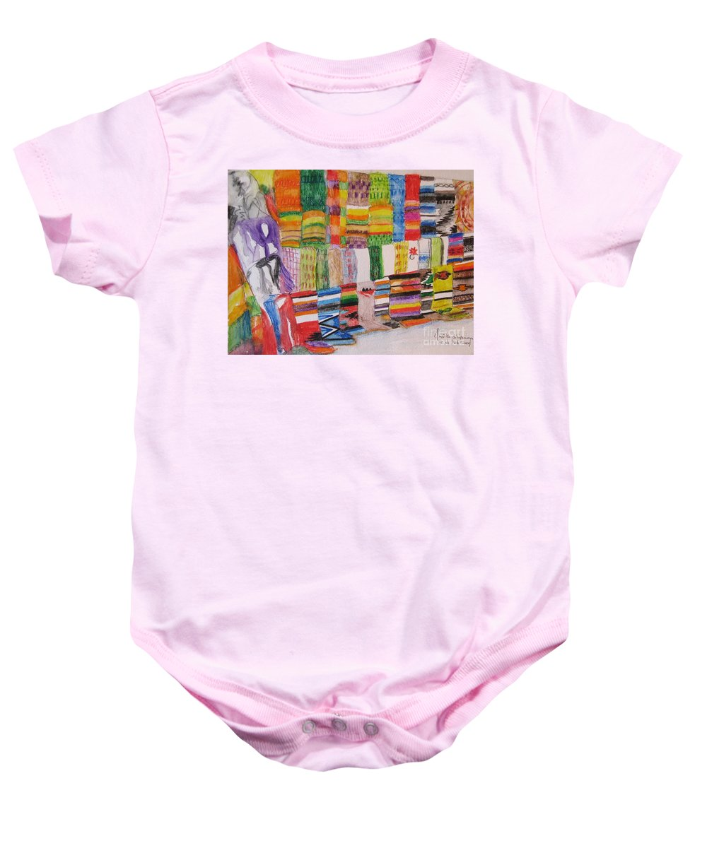 Bright Colors Baby Onesie featuring the painting Bazaar Sabado - Gifted by Judith Espinoza