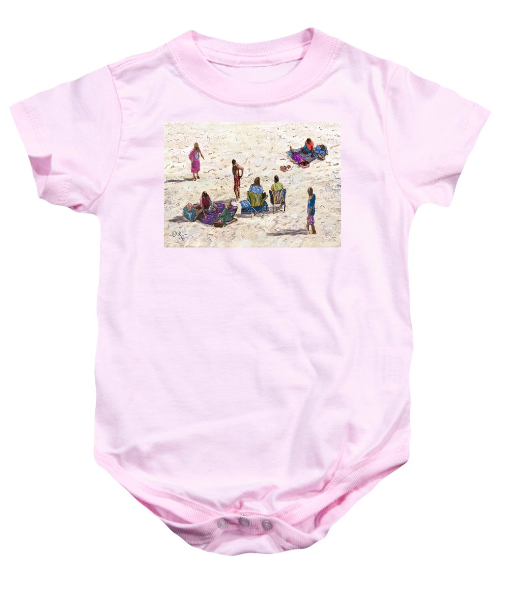 Baby Onesie featuring the digital art Beach Life Cornwall by Kevin Collins