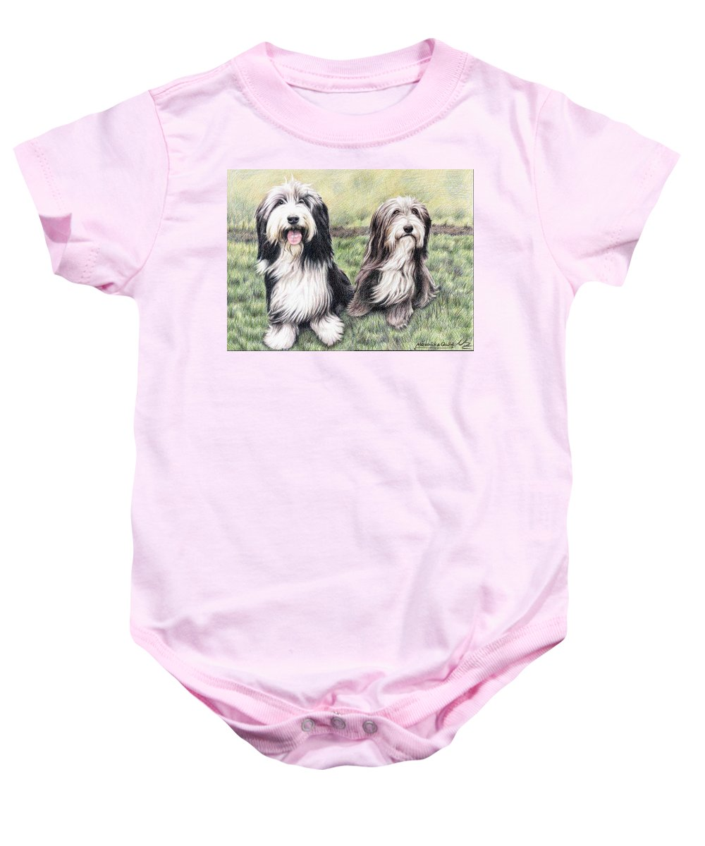 Dogs Baby Onesie featuring the drawing Bearded Collies by Nicole Zeug