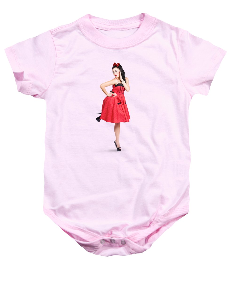 3b668e4c4 Pinup Girl Baby Onesie featuring the photograph Beautiful Brunette Pinup  Girl In Red Retro Dress by