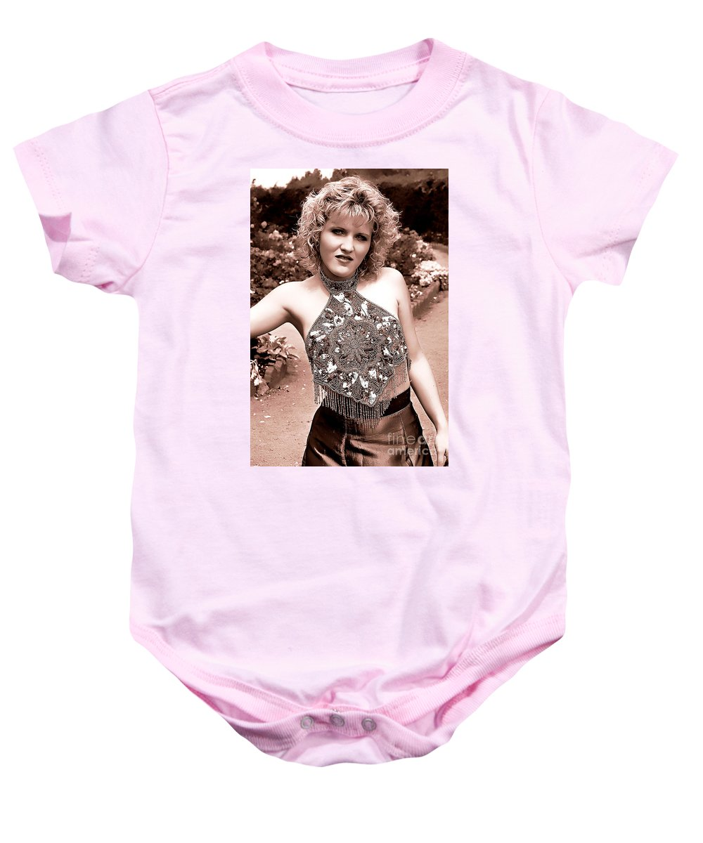 Clay Baby Onesie featuring the photograph Beauty In The Garden by Clayton Bruster