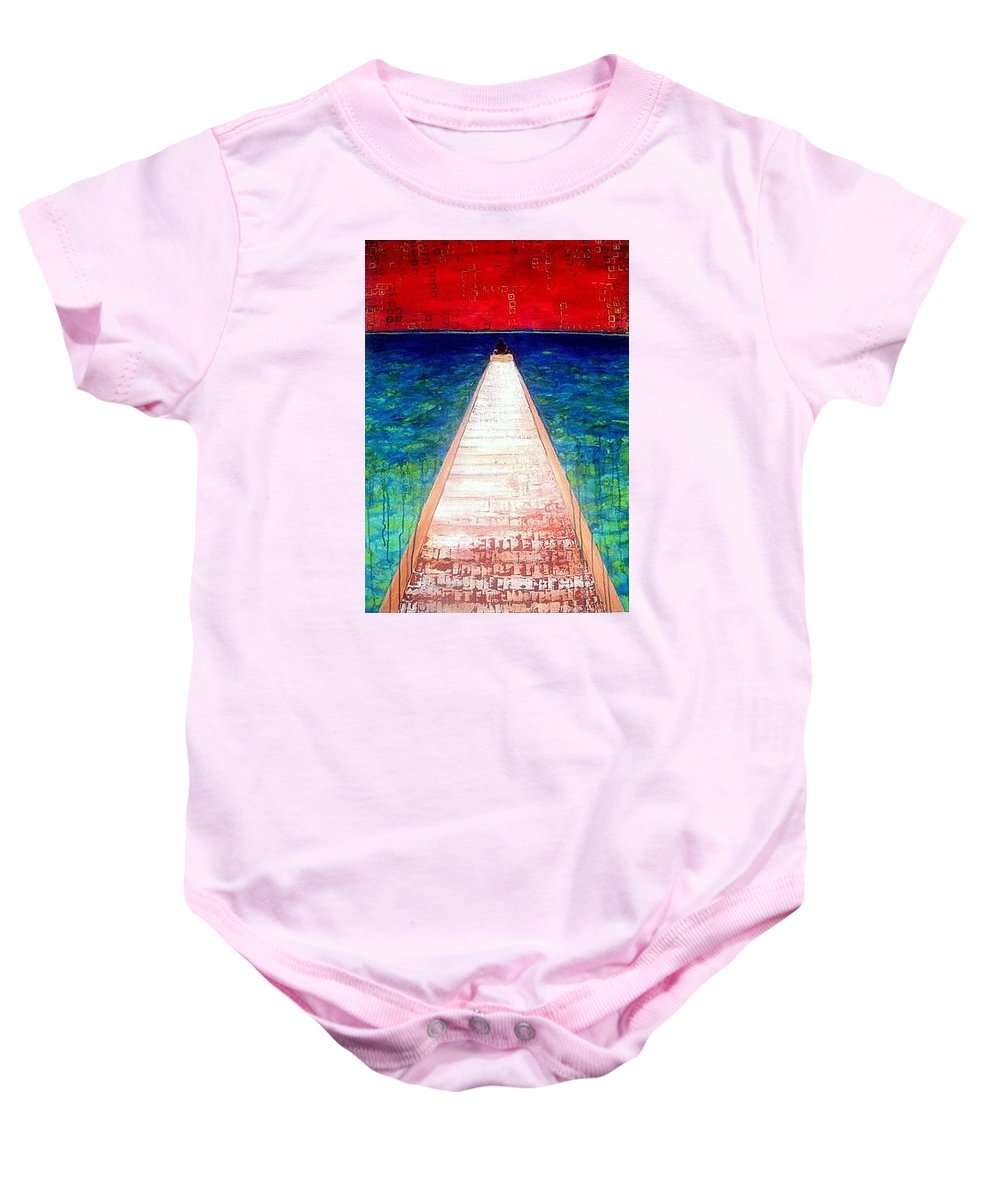 Acrylic Baby Onesie featuring the painting Being By Myself by Adrienne Risby