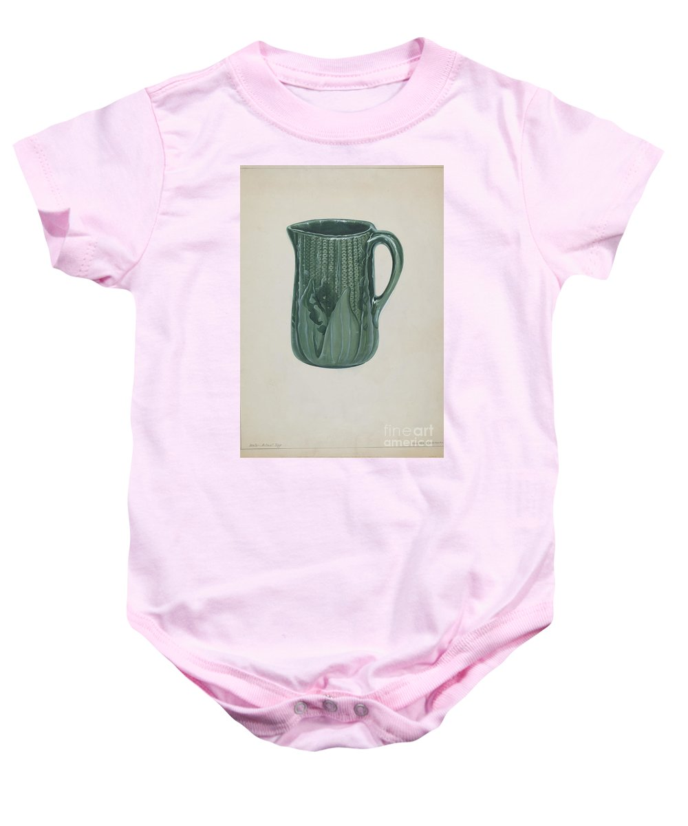 Baby Onesie featuring the drawing Bennington Pitcher by Howard H. Sherman