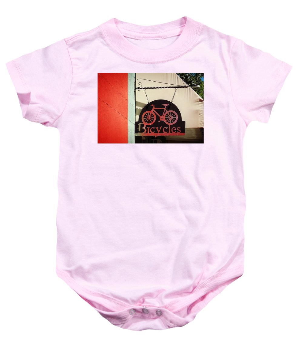 Bicycles Baby Onesie featuring the photograph Bicycles by Valerie Reeves