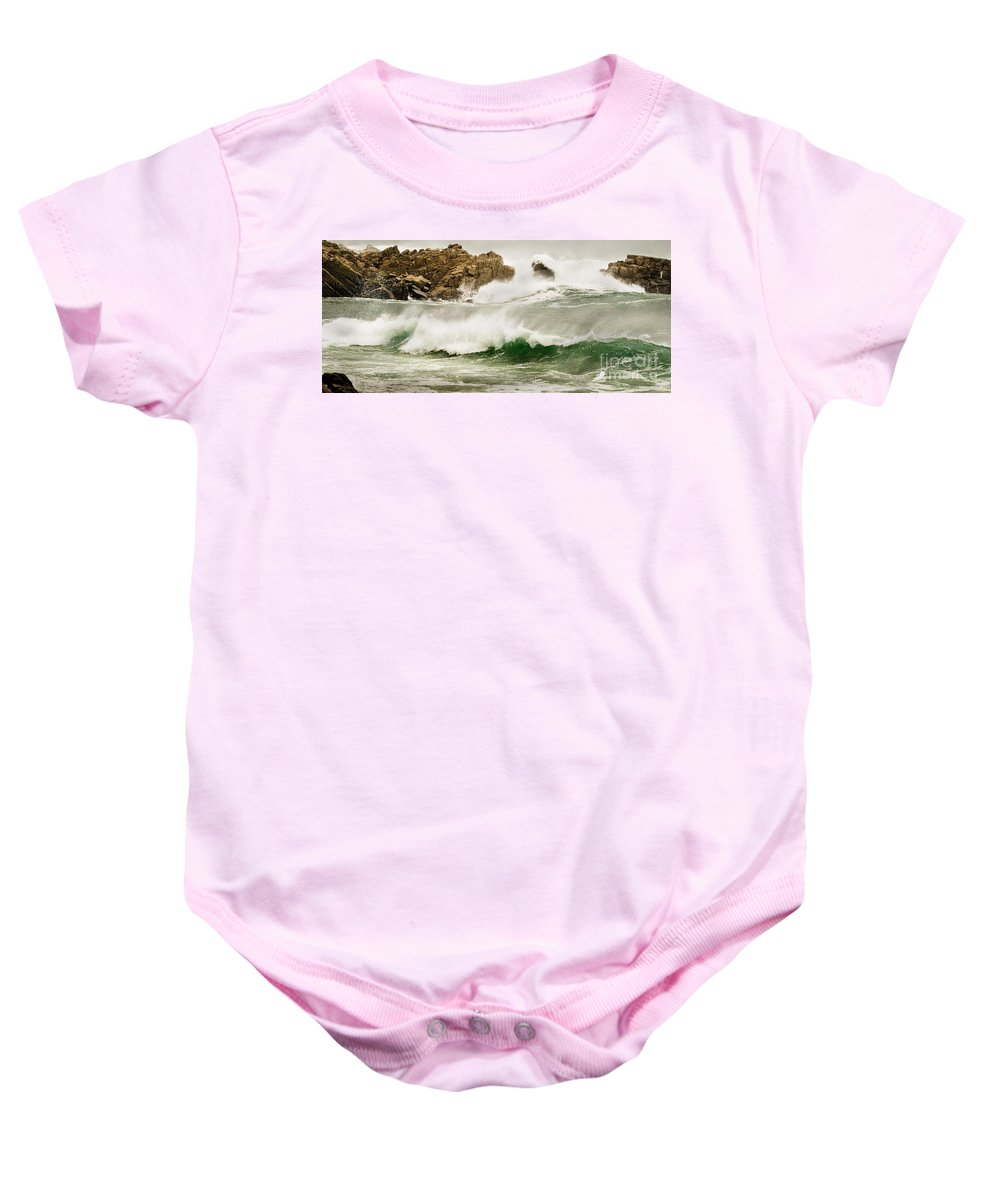 California Coast Baby Onesie featuring the photograph Big Waves Comin In by Norman Andrus