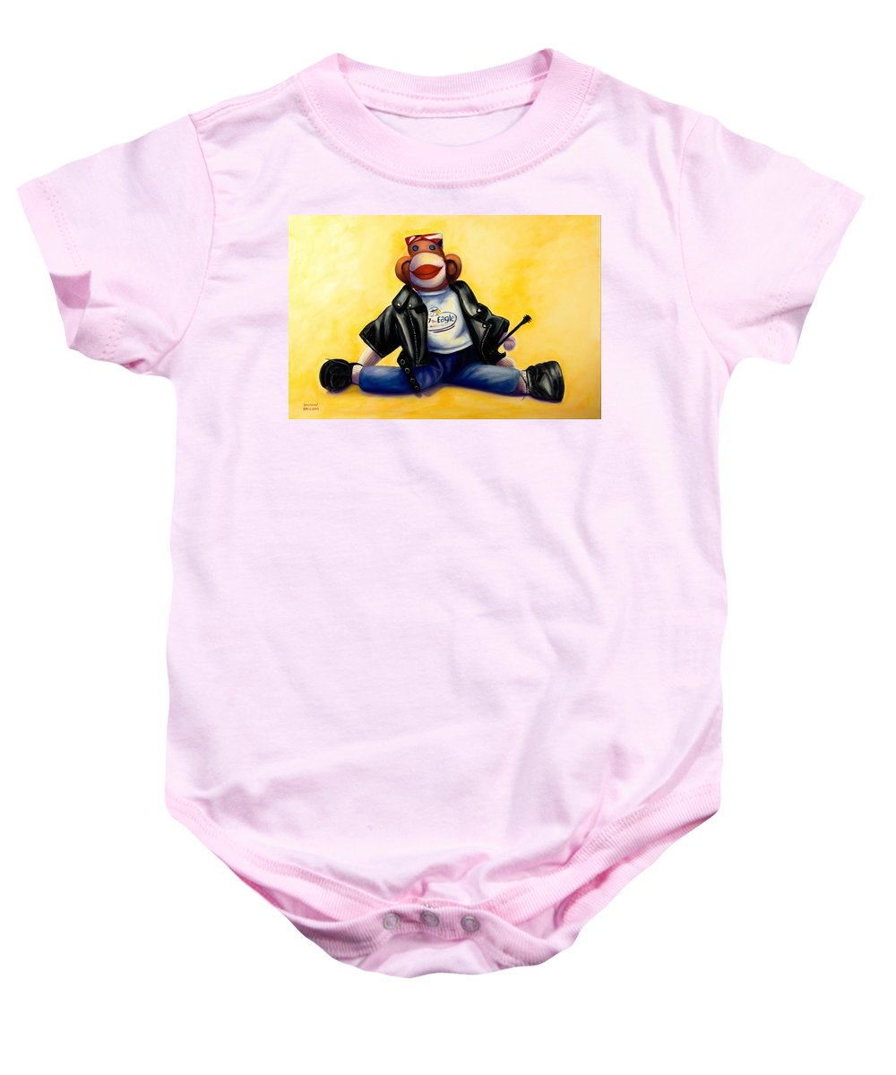 Sock Monkey Brown Baby Onesie featuring the painting Biker Dude Made Of Sockies by Shannon Grissom