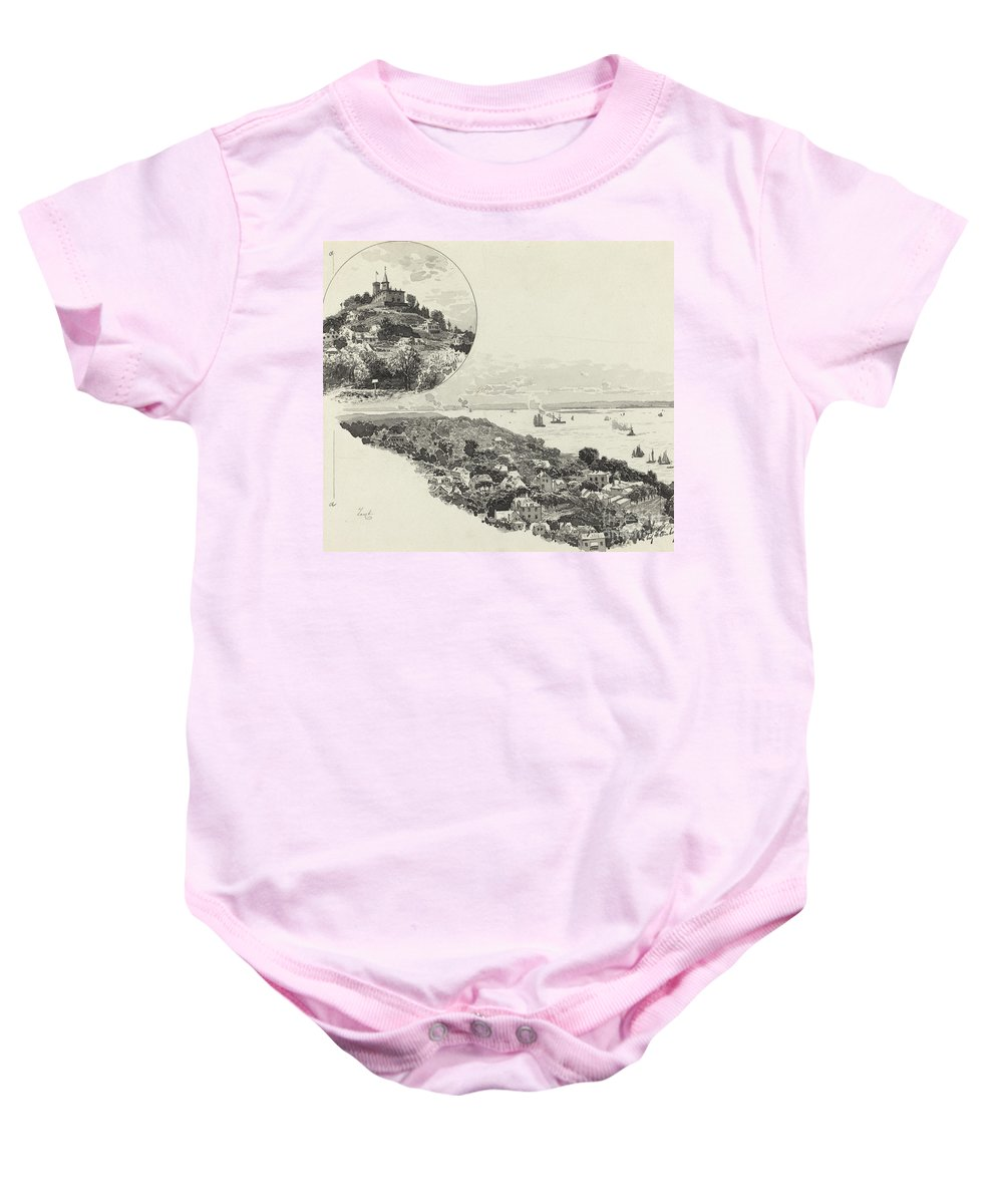 Baby Onesie featuring the drawing Blankenese by Fritz Stoltenberg