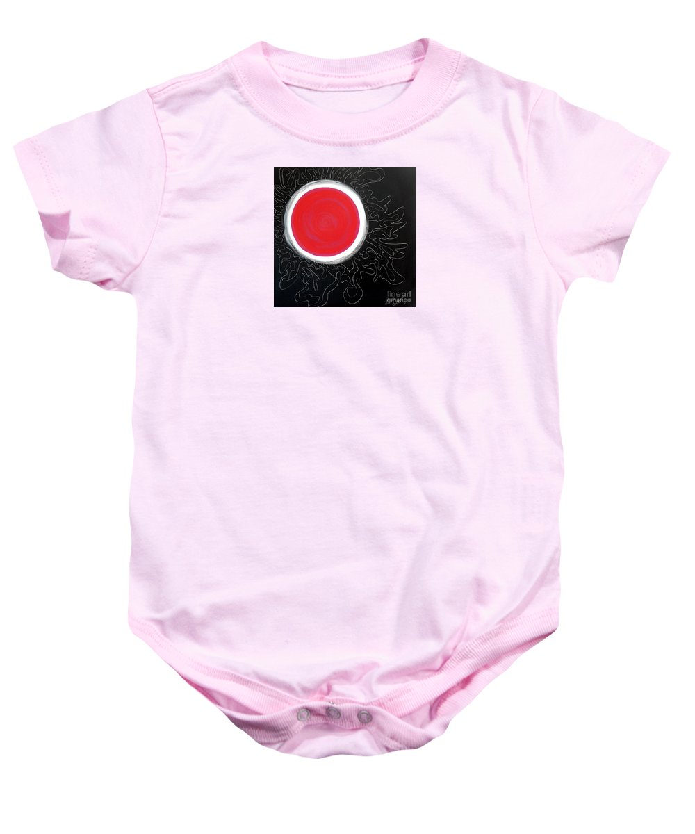 Big Stylized Red Moon With Pink Accents Inside .all Black Background Sky Baby Onesie featuring the painting Blood Moon by Expressionistart studio Priscilla Batzell