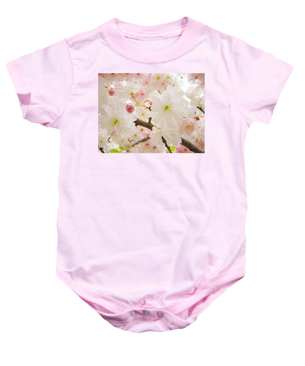 Nature Baby Onesie featuring the photograph Blossoms Art Print 53 Sunlit Pink Tree Blossoms Macro Springtime Blue Sky by Baslee Troutman