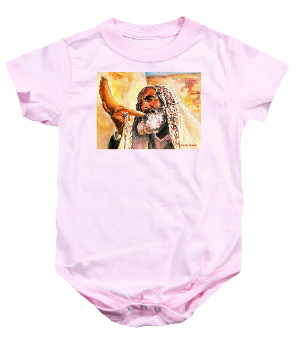 Rabbis Baby Onesie featuring the painting Blow The Trumpet In Zion by Carole Spandau