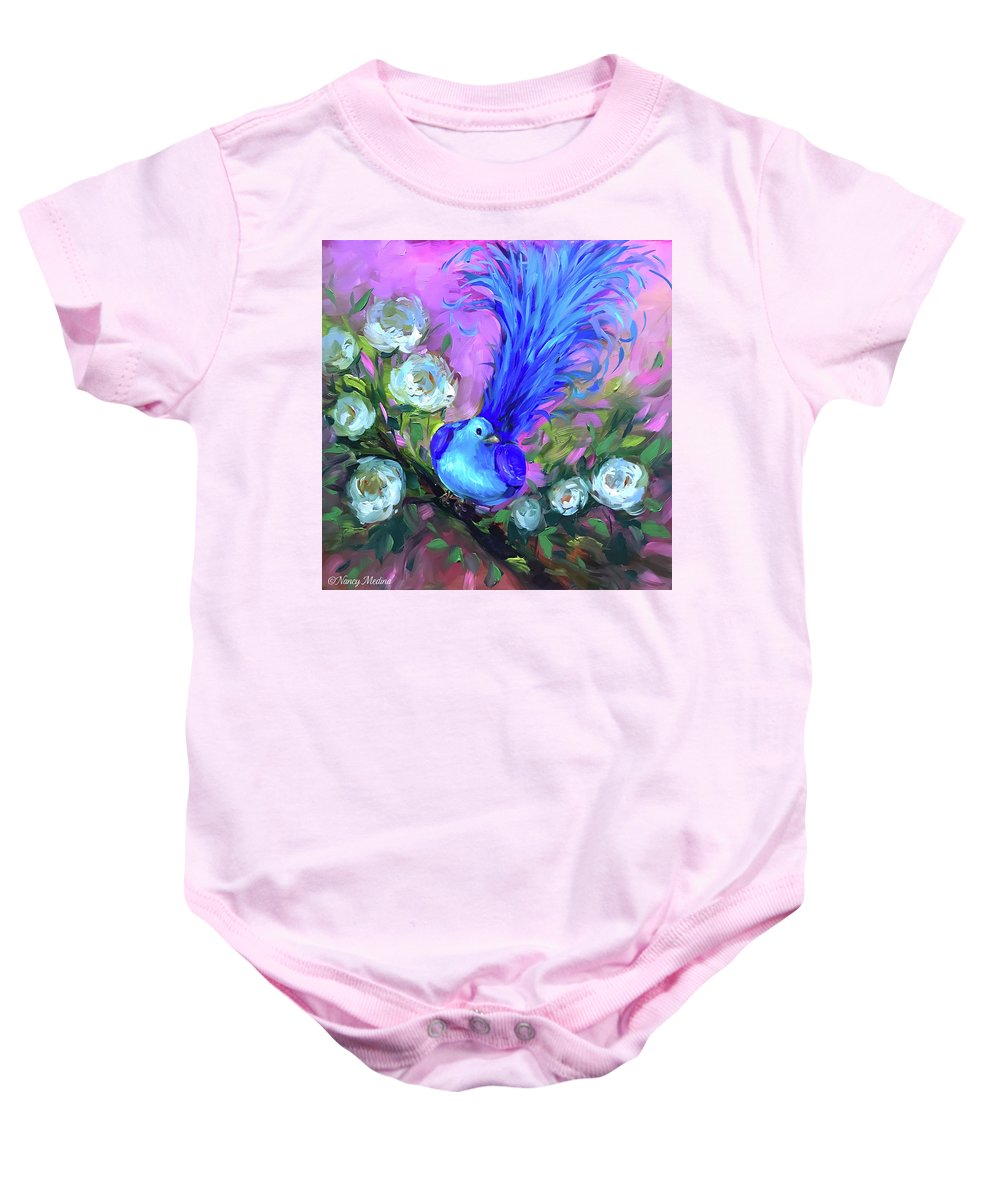 Birds Baby Onesie featuring the painting Blue Bird Christmas Wish by Nancy Medina