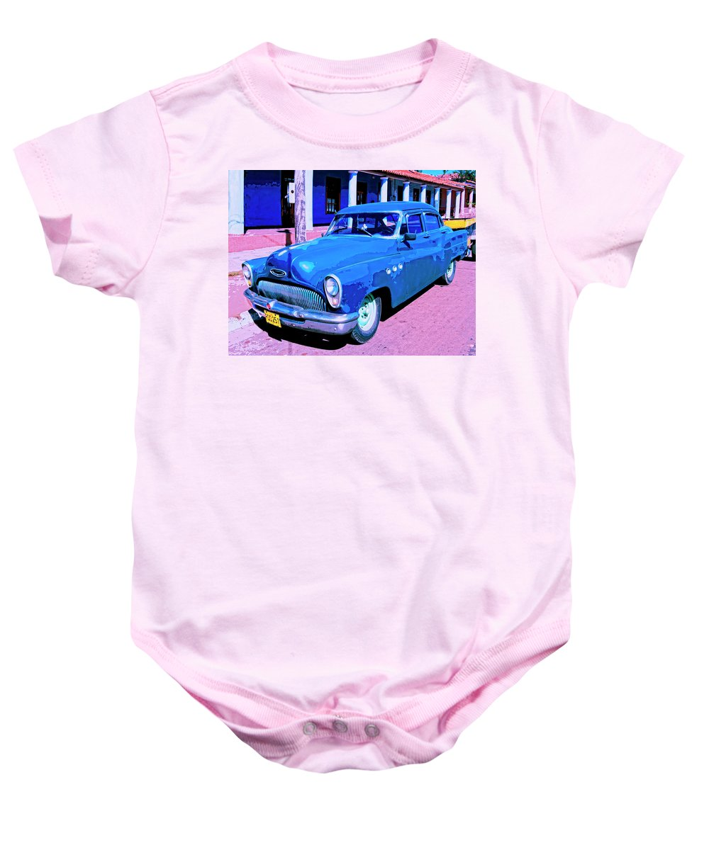 Blue Buick Baby Onesie featuring the mixed media Blue Buick by Dominic Piperata