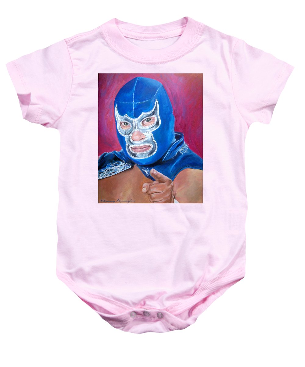 Mask Baby Onesie featuring the painting Blue Demon by Nancy Almazan
