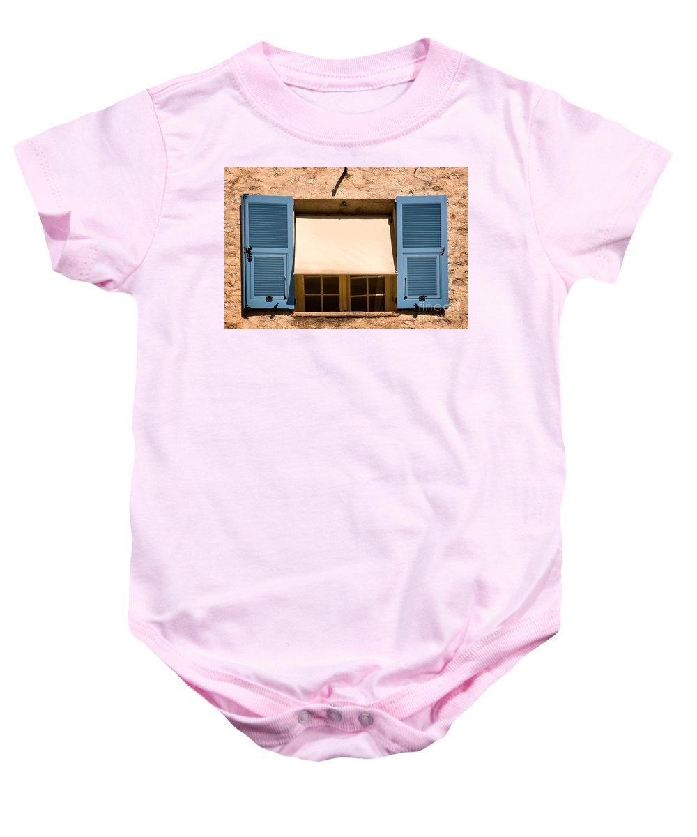 Travel Baby Onesie featuring the photograph Blue Shutters by Louise Heusinkveld