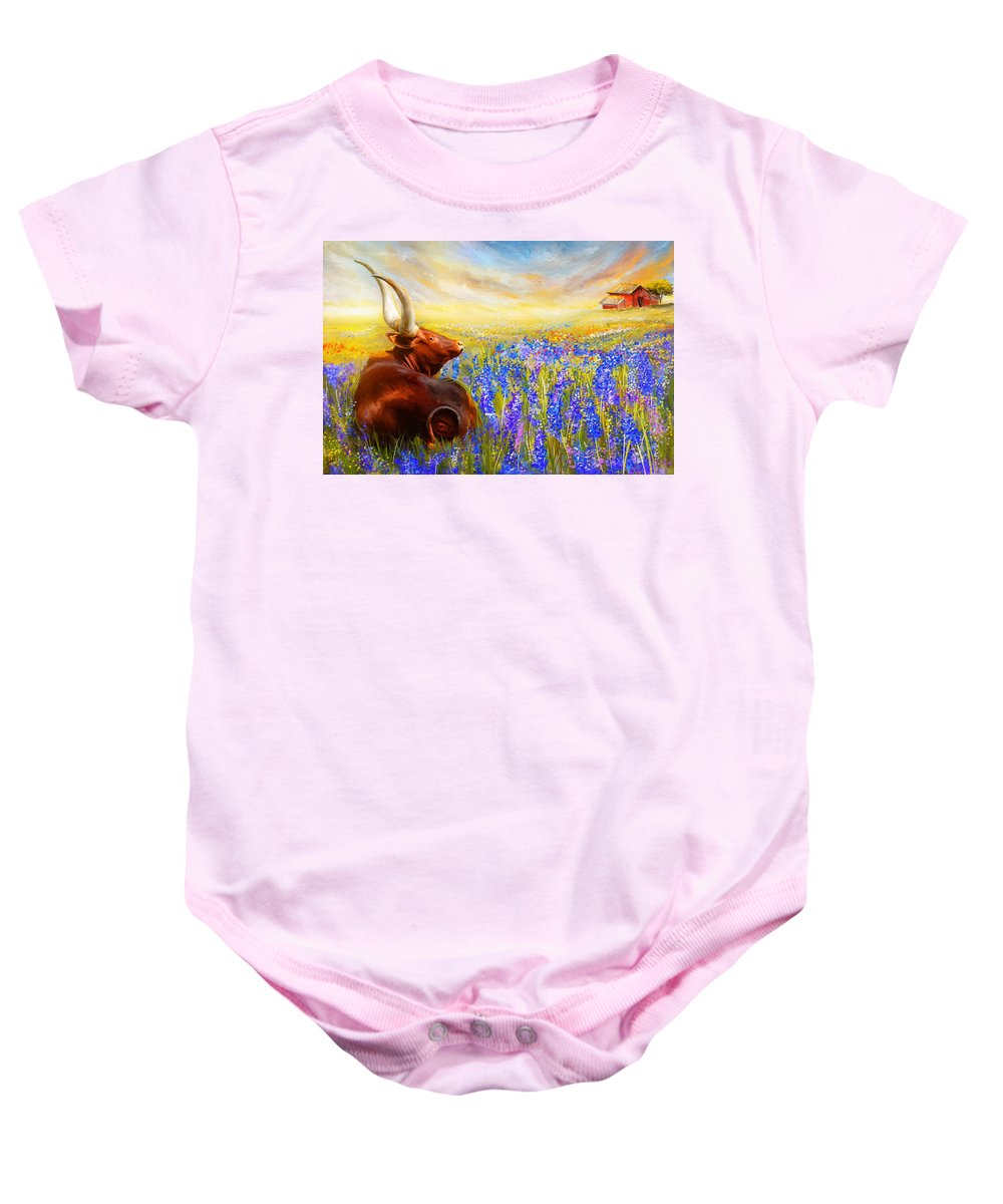 Texas Longhorn Baby Onesie featuring the painting Bluebonnet Dream - Bluebonnet Paintings by Lourry Legarde