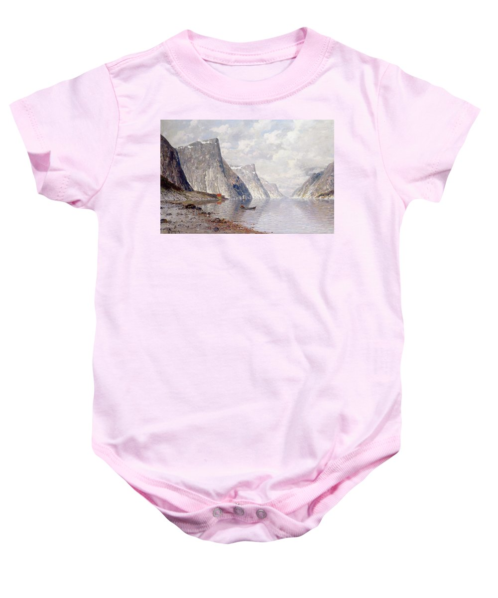 Lake; Cliffs; Icy; Snow; Beach; Shore; Boat; Scandinavia Baby Onesie featuring the painting Boating On A Norwegian Fjord by Johann II Jungblut