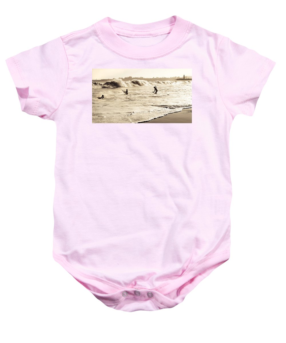 Body Surfing Baby Onesie featuring the photograph Body Surfing Family by Marilyn Hunt