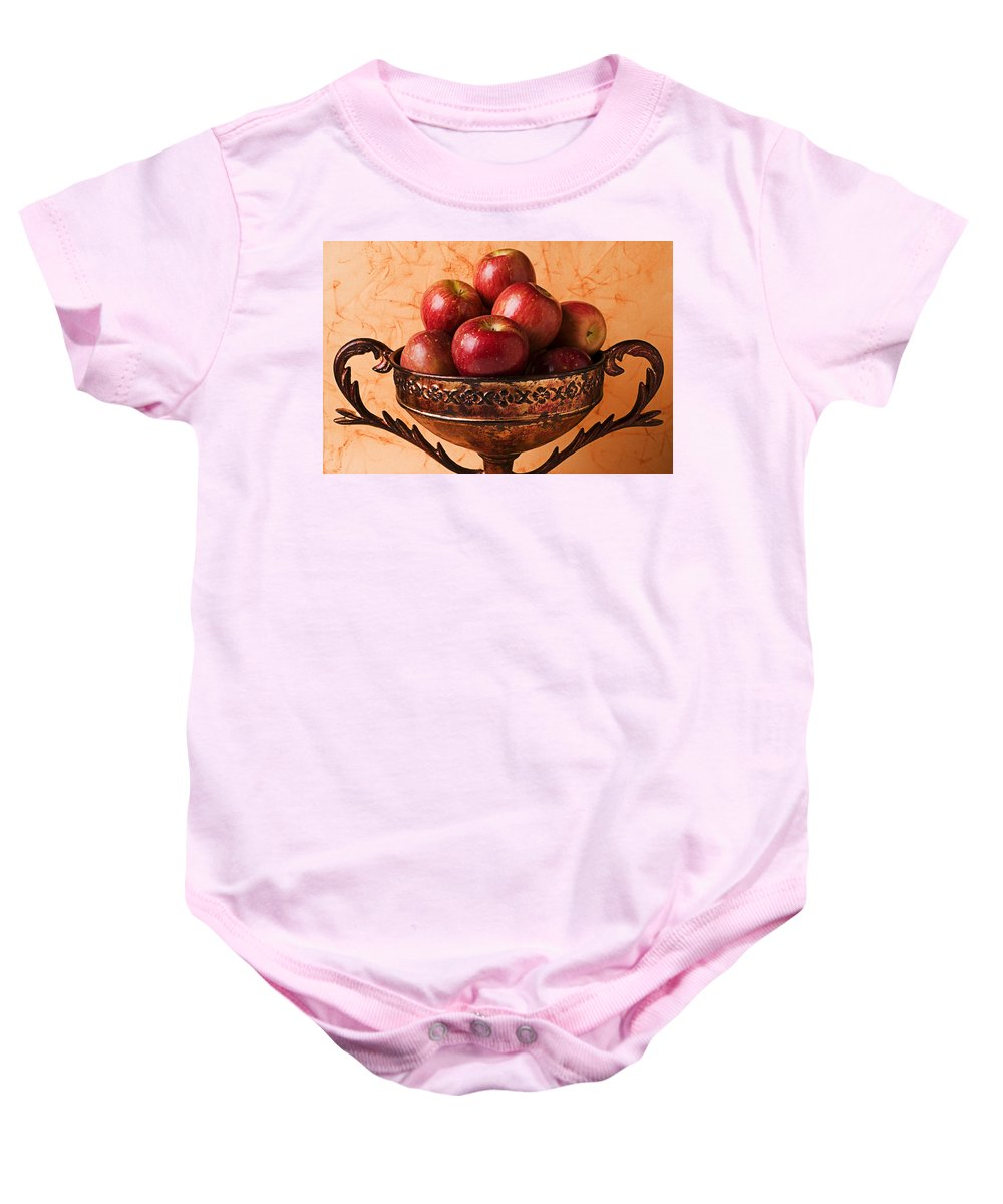 Apple Baby Onesie featuring the photograph Brass Bowl With Fuji Apples by Garry Gay