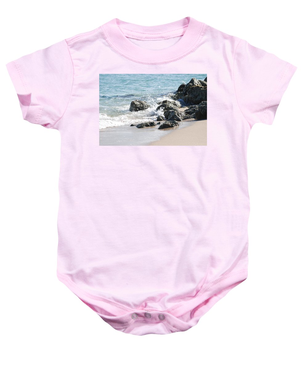 Scenic Baby Onesie featuring the photograph Breakers by Rob Hans