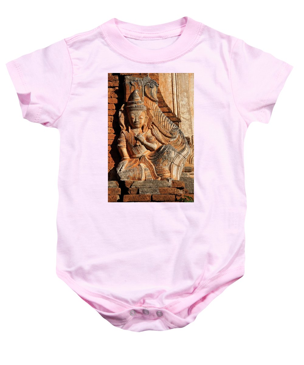 Asia Baby Onesie featuring the photograph Burmese Pagoda Sculpture by Michele Burgess