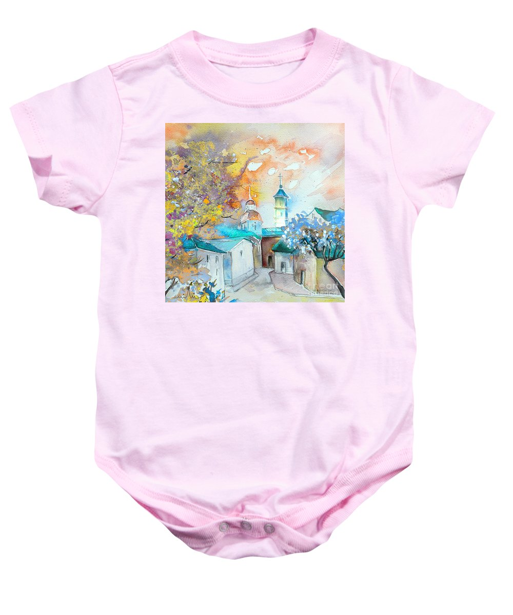Watercolour Travel Painting Of A Village By Teruel In Spain Baby Onesie featuring the painting By Teruel Spain 03 by Miki De Goodaboom