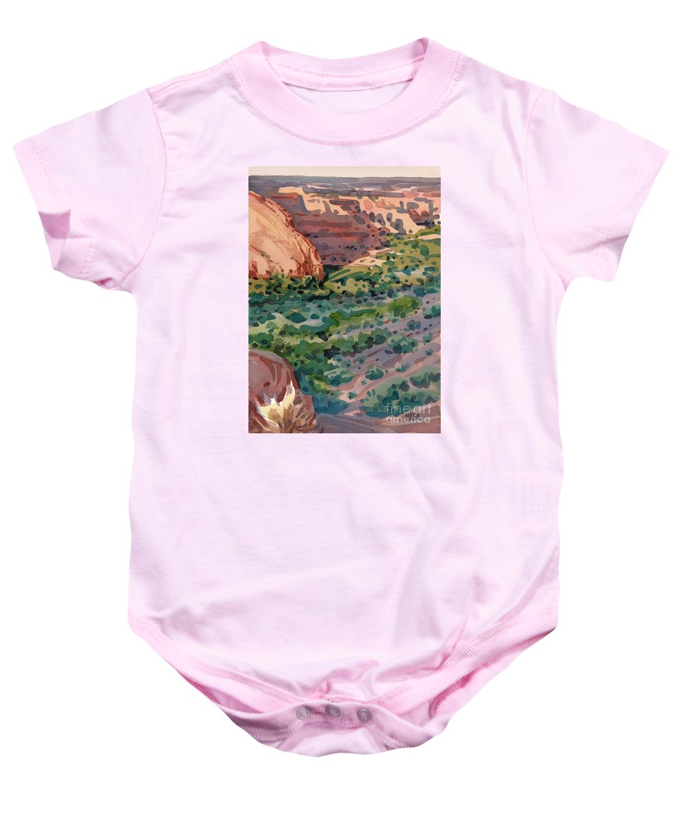 Canyon De Chelly Baby Onesie featuring the painting Canyon Shadows by Donald Maier