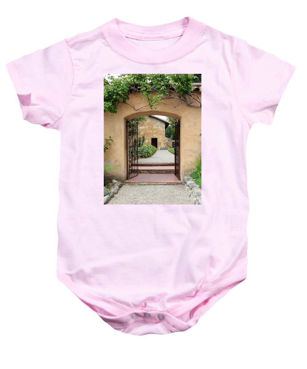 Carmel Mission Baby Onesie featuring the photograph Carmel Mission Path by Carol Groenen