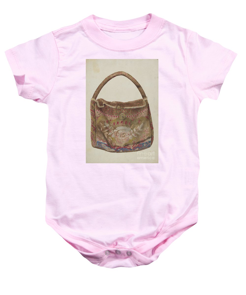 Baby Onesie featuring the drawing Carpet Bag by Samuel O. Klein