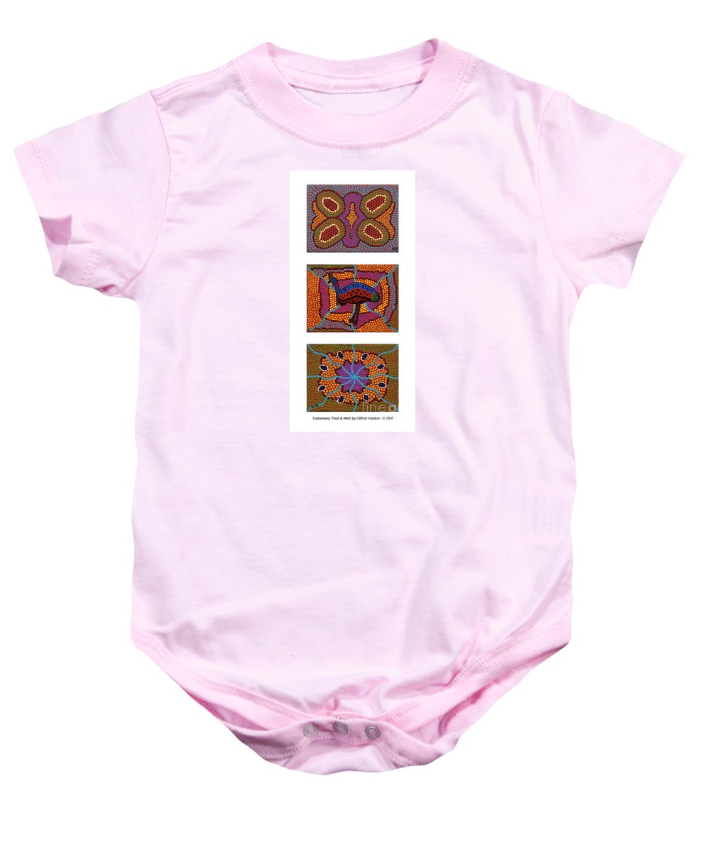 Cassowary Baby Onesie featuring the painting Cassowary - Food - Nest by Clifford Madsen
