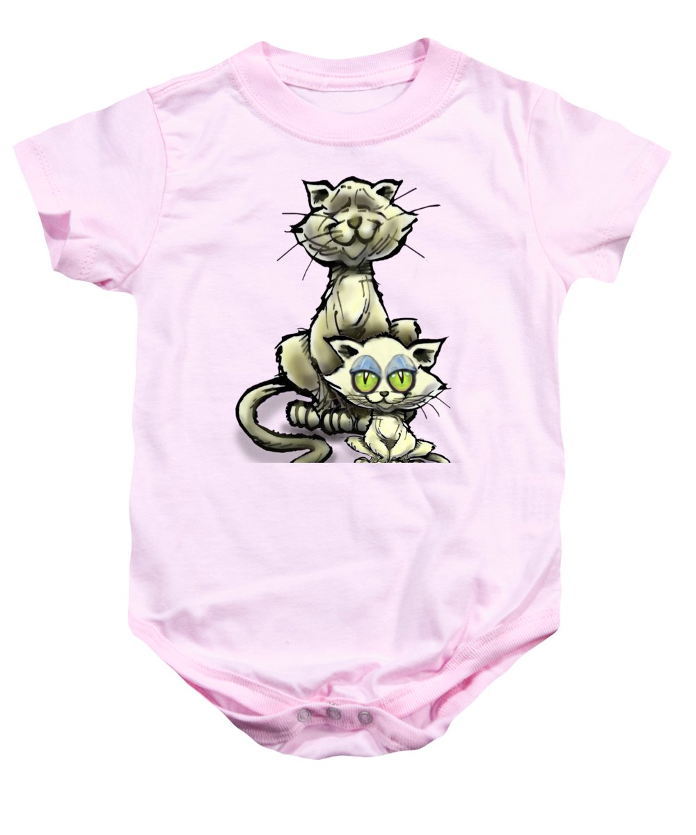 Cat Baby Onesie featuring the digital art Cat N Kitten by Kevin Middleton