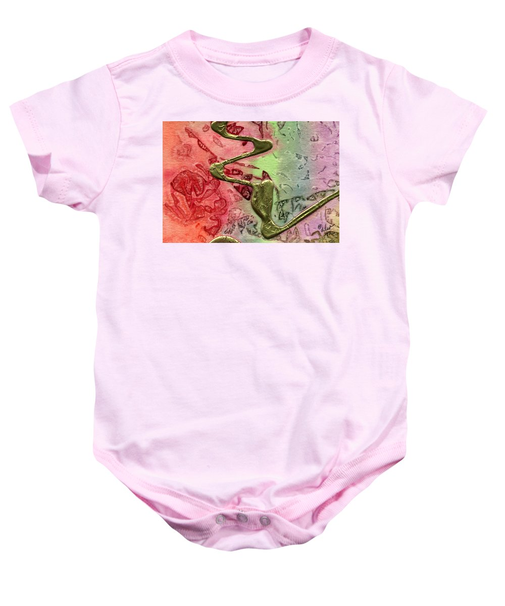 Abstract Baby Onesie featuring the mixed media Changes by Angela L Walker