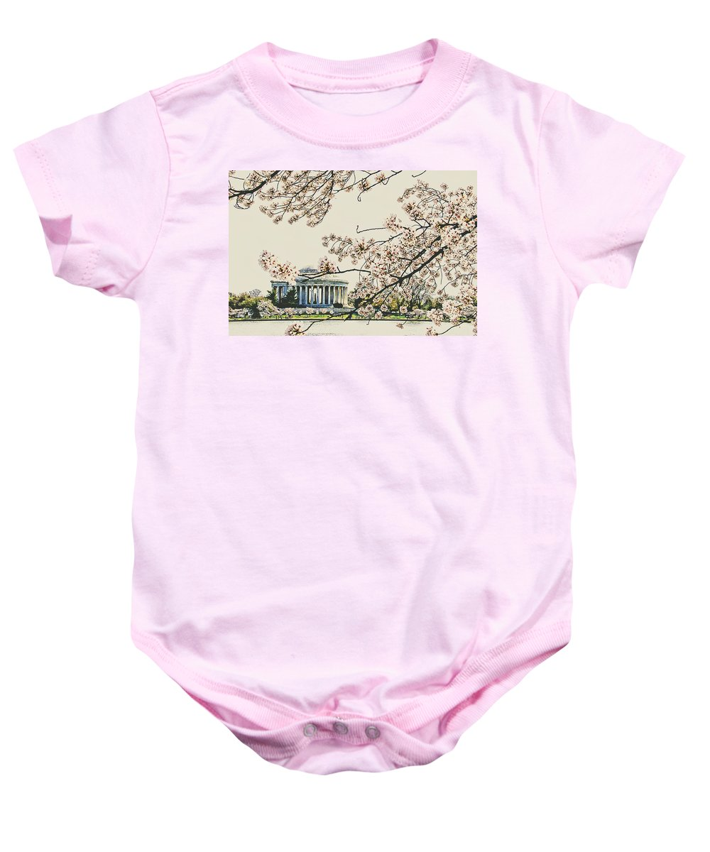 Cherry Blossoms Baby Onesie featuring the photograph Cherry Blossom Tidalbasin View by Alice Gipson