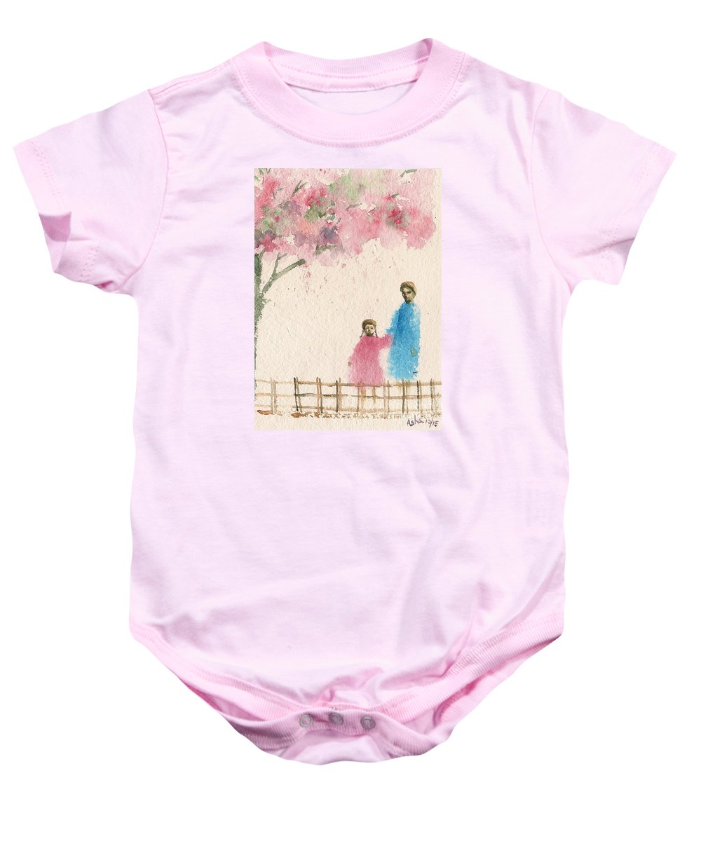 Figurative Baby Onesie featuring the painting Cherry Blossom Tree Over The Bridge by Asha Sudhaker Shenoy