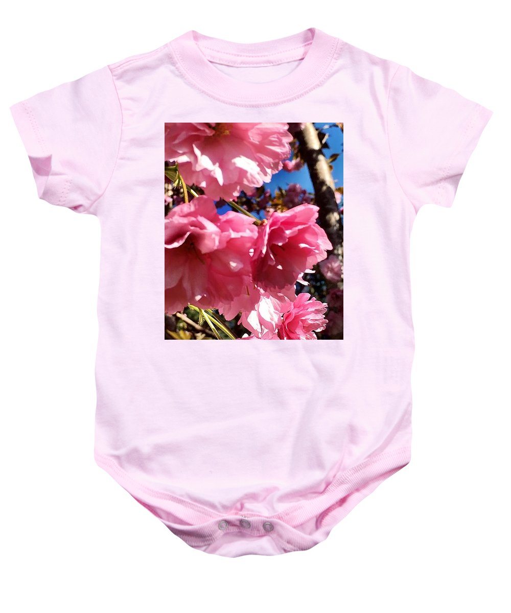 Pink Baby Onesie featuring the photograph Cherryblossoms Perspective by Kat J