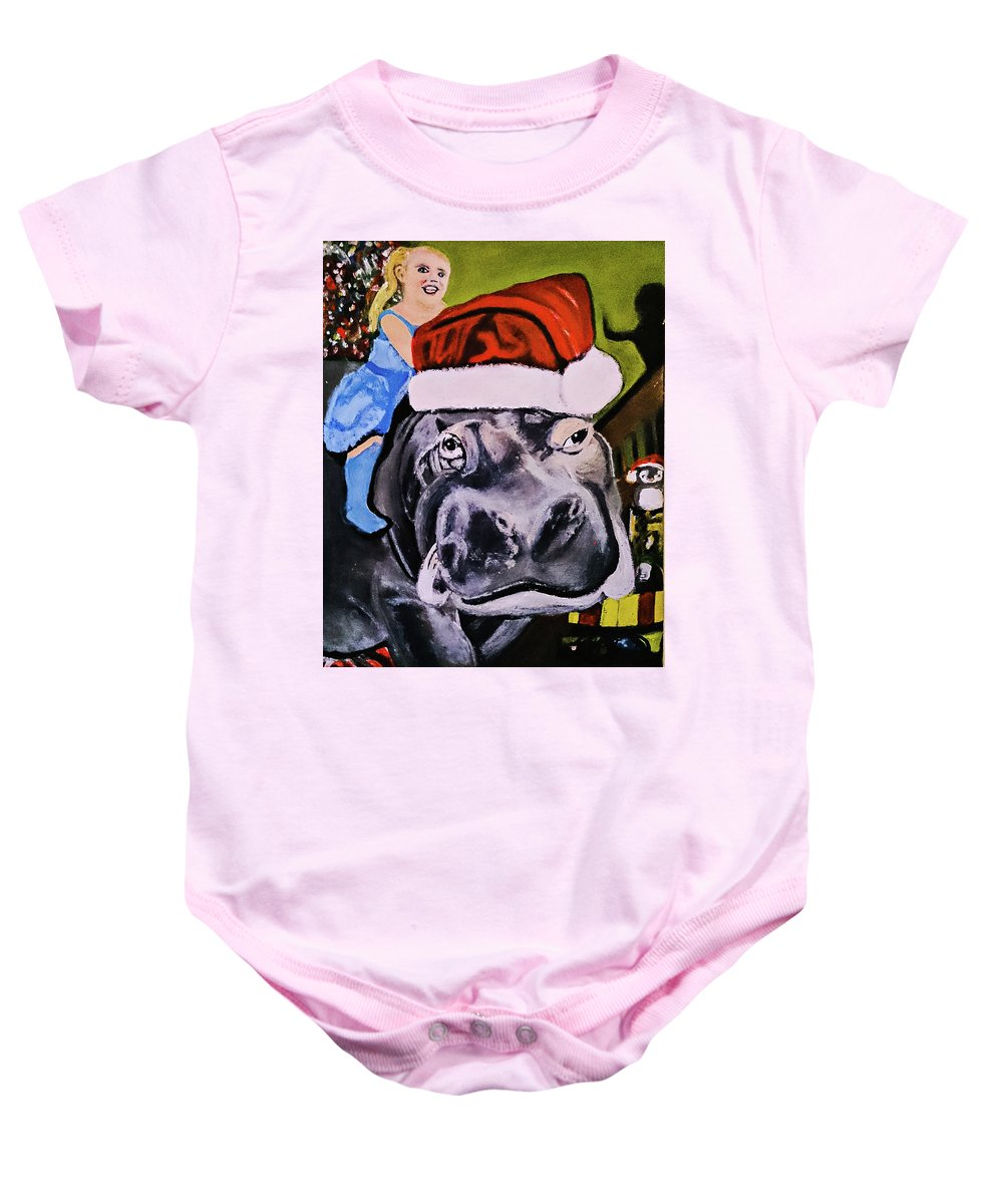 Baby Onesie featuring the painting Christmapotamus by Doug Shorts