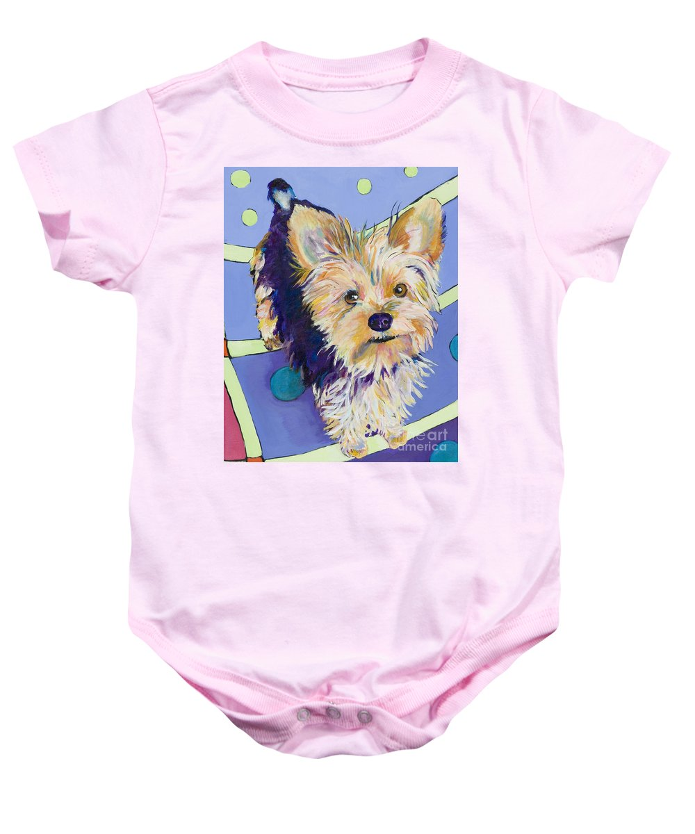 Pet Portraits Baby Onesie featuring the painting Claire by Pat Saunders-White