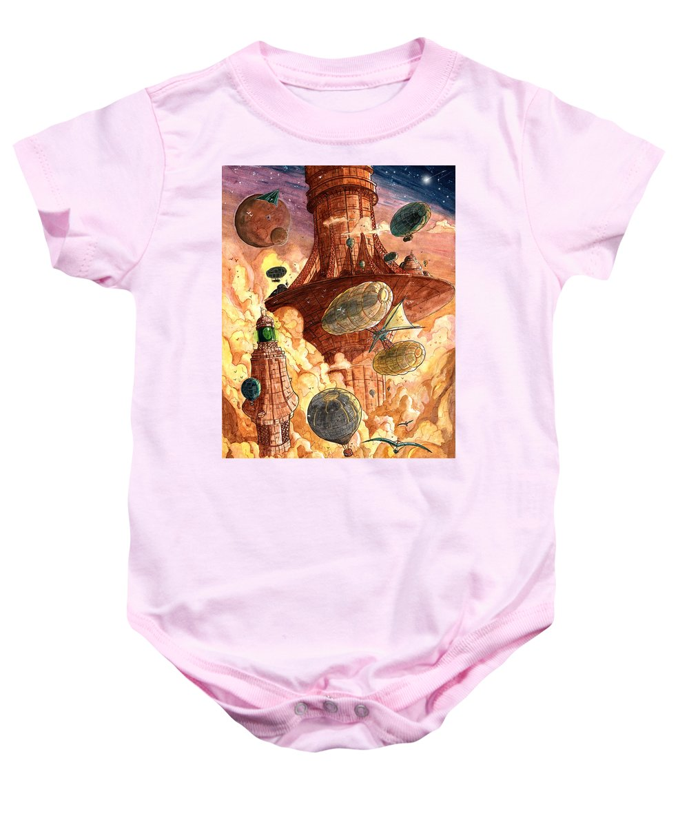 Steampunk Baby Onesie featuring the painting Cloud City by Luis Peres