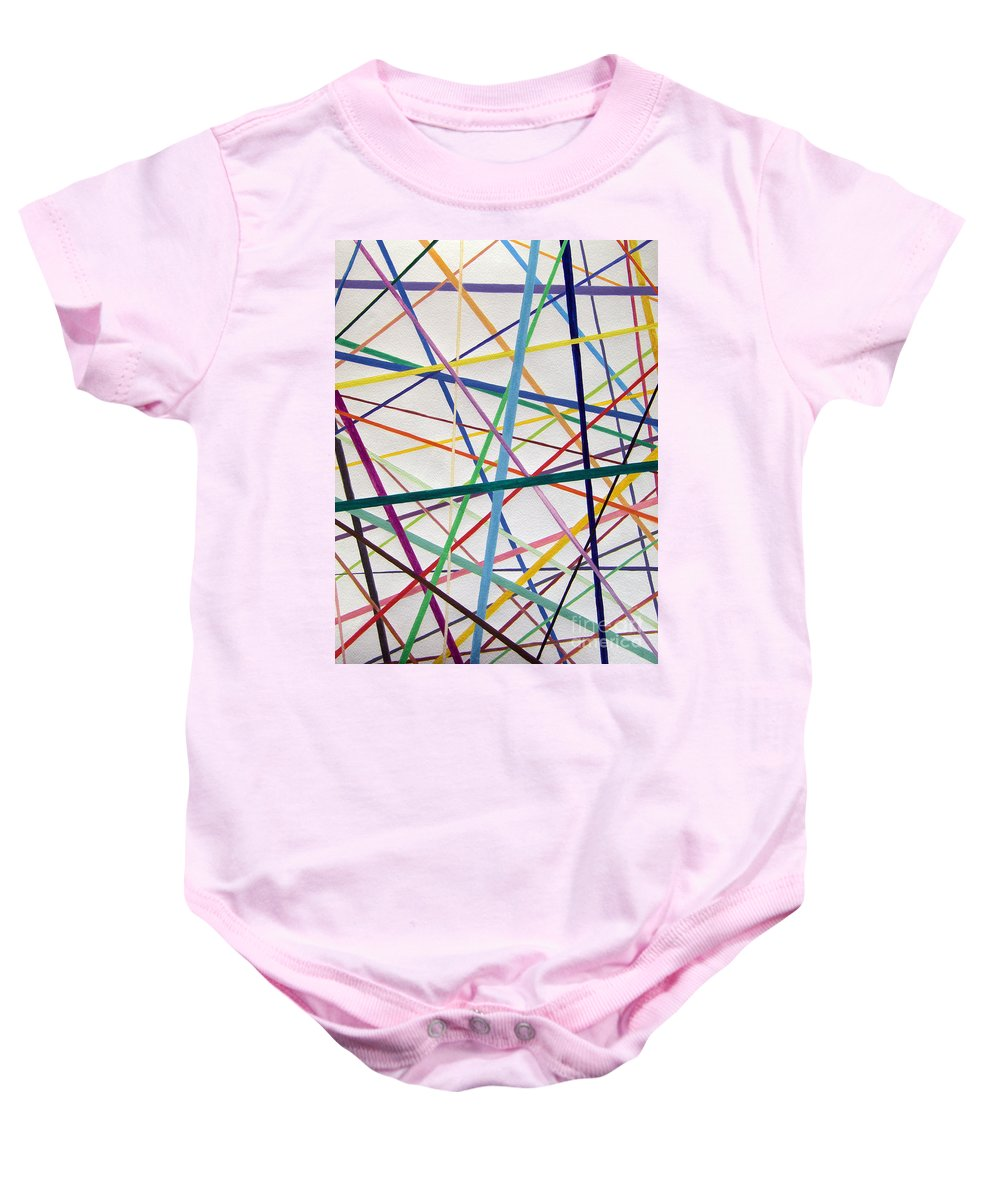 Abstract Baby Onesie featuring the painting Color Lines Variety by Lee Serenethos