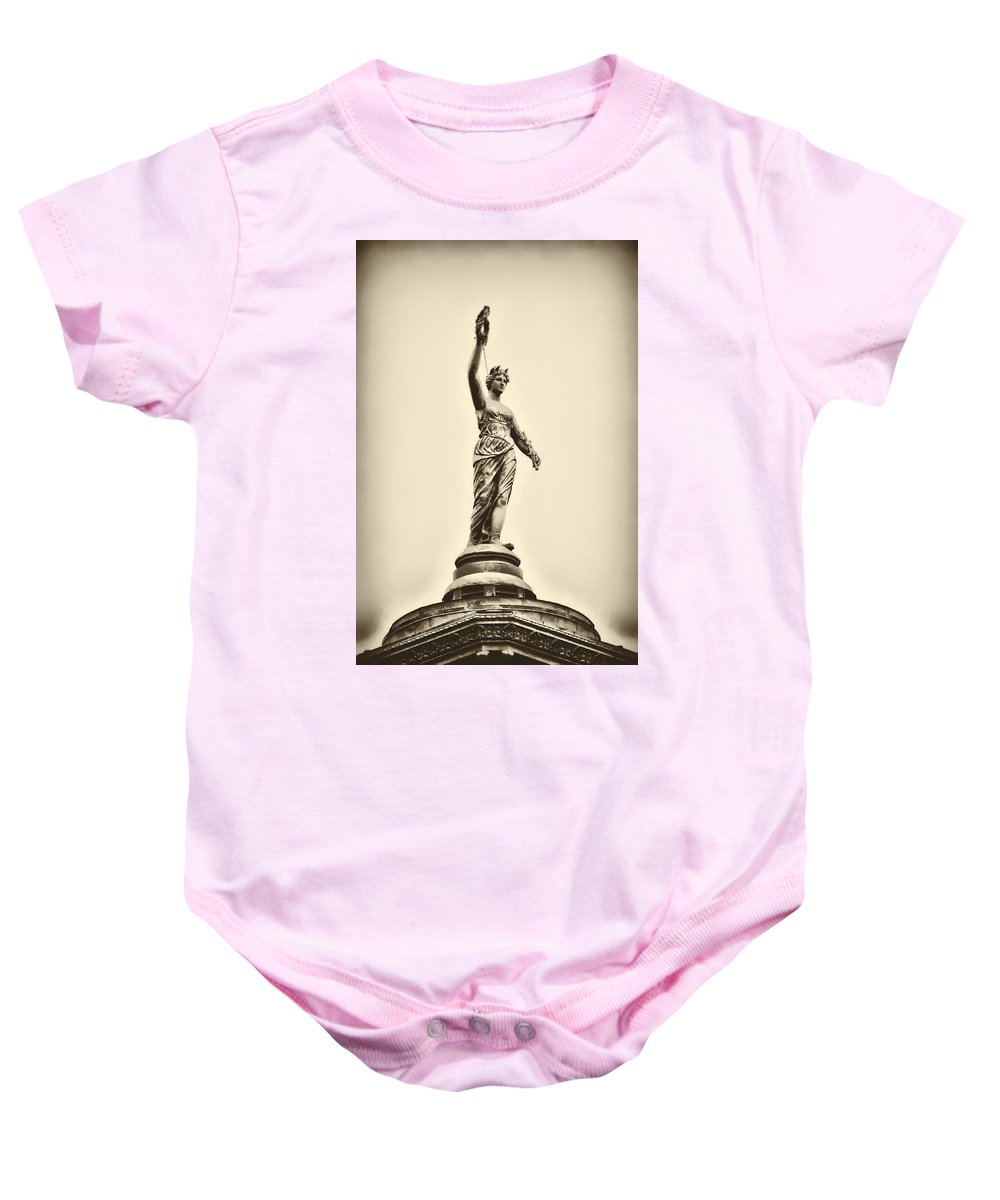 Philadelphia Baby Onesie featuring the photograph Columbia Statue Atop Memorial Hall by Bill Cannon