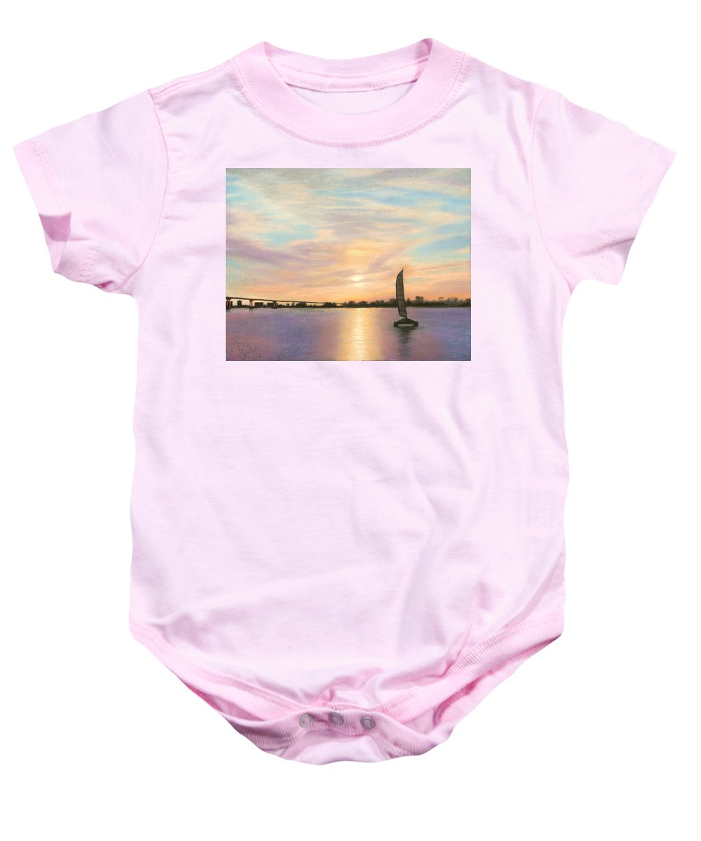 Coronado Baby Onesie featuring the pastel Coronado Bridge Sunset B by Michael Heikkinen