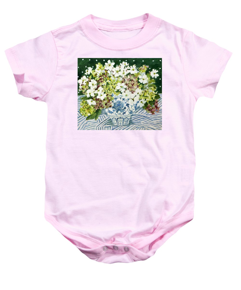 Cosmos Baby Onesie featuring the painting Cosmos And Hydrangeas In A Chinese Vase by Jennifer Abbot