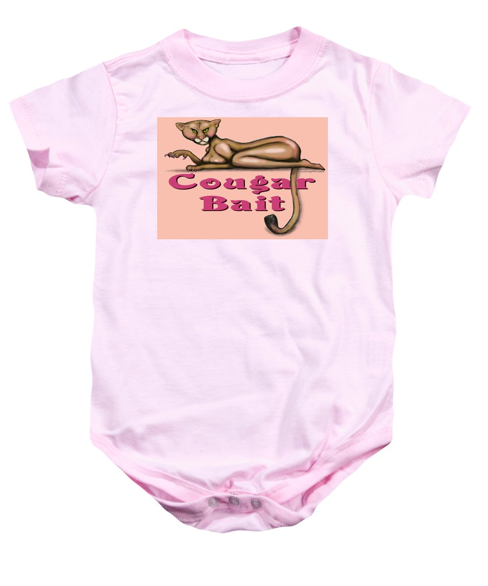Cougar Baby Onesie featuring the greeting card Cougar Bait by Kevin Middleton
